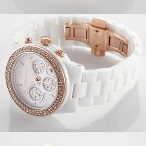 MICHAEL KORS Rose Gold White Ceramic Watch MK5269